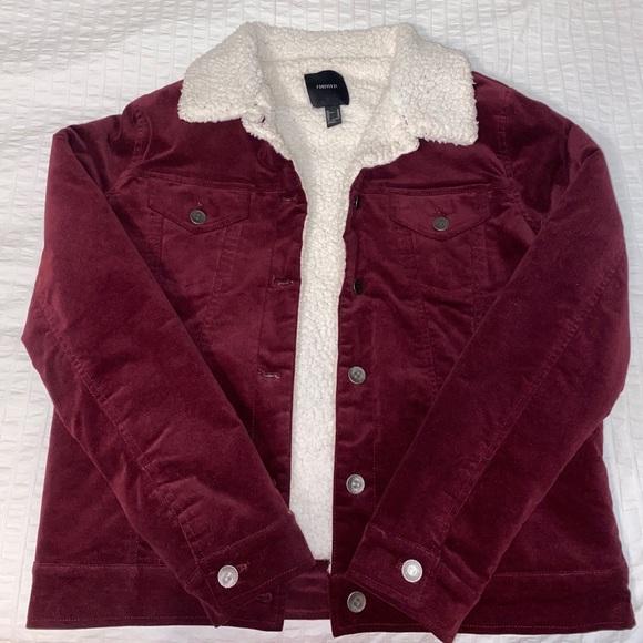 forever 21 maroon corduroy jacket
